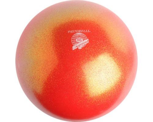 Мяч 18 см Pastorelli Глиттер Красно-оранжевый арт.00033 FIG