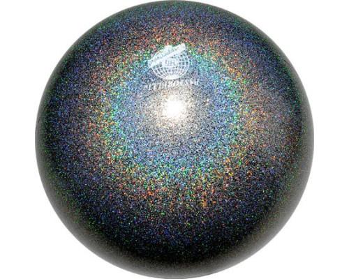 Мяч Pastorelli 18 см Глиттер Галакси цв.Черный арт. 02408 FIG